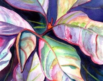 Tropical Leaves Original Watercolor Painting - Tropical Flower Art - Colorful Foliage Paintings - tropical wall art - Hawaiian home decor