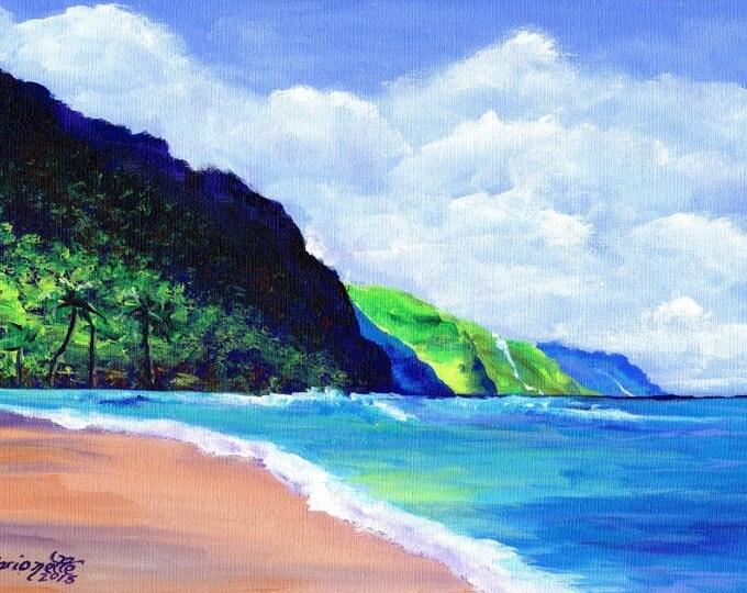 Kee Beach 3 Art Print  5x7 from Kauai Hawaii green teal blue sand beach ocean sand Kauai art Hawaiian prints end of the road beach