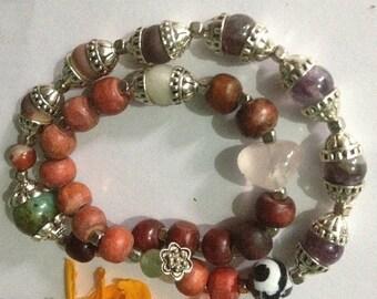 ON SALE Amethyst Algorhythm Infinity Yogic Double Wrap Bracelet