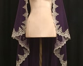 Royal Purple Fingertip Length Mantilla Veil With Silver Lace - Reserved for ddrnrgrl (2 of 2)