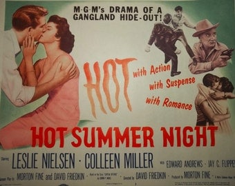 Vintage Lobby Card Leslie Nielsen 50s Crime Movie HOT SUMMER NIGHT 1957