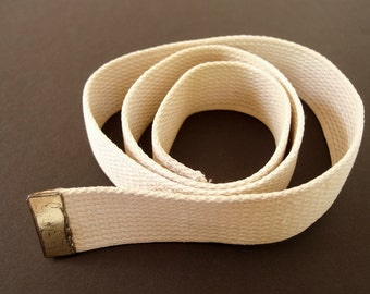 Vintage 1980's Military Belt, Beige Webbing with Capped End, No Buckle