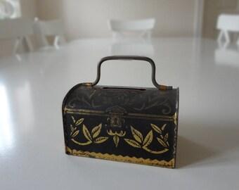 Vintage Tin Money Box Bank Miniature - EnglishPreserves