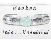 Broken into Beautiful Beach Glass Cuff Bracelet