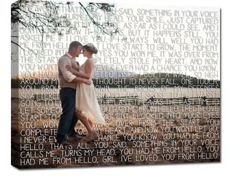 Personalized Gift newlywed gift First Dance Lyrics Behind Photo Wedding Canvas Decor Words vows lyrics Anniversary or Wedding Art