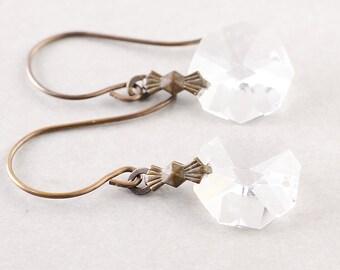 Vintage Glass Earrings, Brass Earrings, Octagon, Pearl, Carmel
