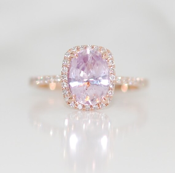 Rose gold ring engagement ring Peach lavender sapphire 1 96ct