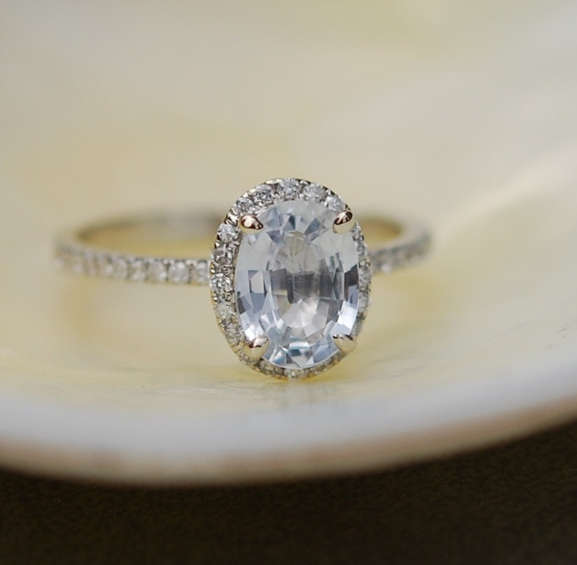 white sapphire ring white gold engagement ring 1 41ct oval 14k