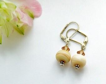 Handmade etched lampwork bead earrings