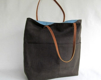 Large LINEN Tote // Pocketed Front Linen Tote Bag // Linen Tote with Leather Straps // Brown //  TEAK