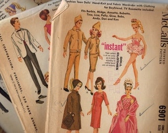 Lot of Four Vintage 1960s McCalls 6901 6420 x2 and 7480 Barbie Ken Doll Sewing Patterns Group Uncounted