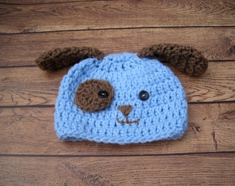 Baby Puppy Hat, Baby Dog Hat, Baby Hat, Baby Boy Hat, Newborn Hat, Baby Photo Prop, Newborn Puppy Hat, Animal Hat, Boy Puppy Hat, Blue