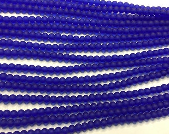 Cultured Sea Glass Beads 48 Royal Blue 4mm Round Beads