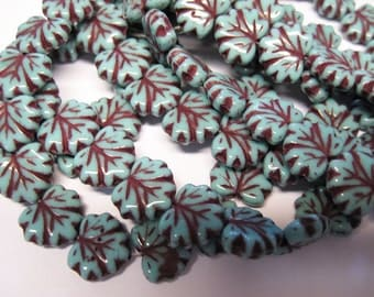20 Turquoise with Red Picasso Czech Pressed Glass Maple Leaf Beads 10 x 13mm