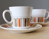 Noritake  Mardi Gras. Mid century 1960s cup and saucers, set of two.