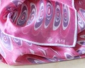 Vera scarf with pink and purple swirl design, 1960s square with ladybug logo.