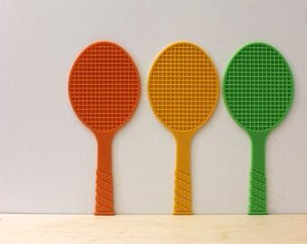 Tennis coasters. 1970s racket coaster set. Citrus colors.