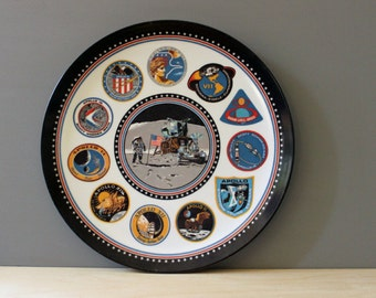 Apollo Space Mission and Moon Landing. Vintage 1960s Texas Ware melamine plate.