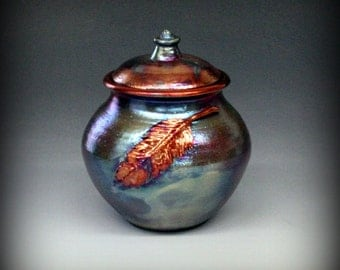 Raku Urn or Lidded Pot with Feather in Metallic and Iridescent Colors