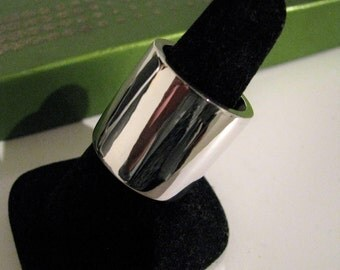 Thicker Heavy Extra Wide Knuckle to Knuckle Cigar Pipe Ring Band Sterling Silver Men Women