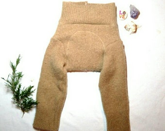 Small Wool Longies Camel Beige Heavy Wetter Cashmere / Wool Pajamas Pyjamas  / Upcycled Wool Soaker Diaper Cover / Cuffs Extra Long