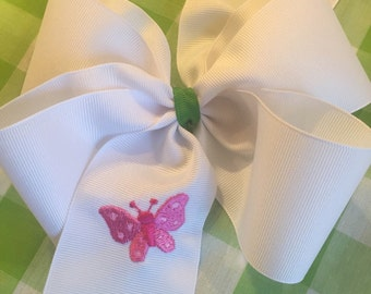 Embroidered Butterfly Hair Bow Boutique Lilly colors