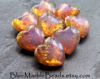Fire Opals, Heart Cabochon, Faceted Back,  Fire Opal Cabochon, Harlequin, Valentines Day, Romantic,  Heart Shape, Heart, 12 x 11, 8 Stones