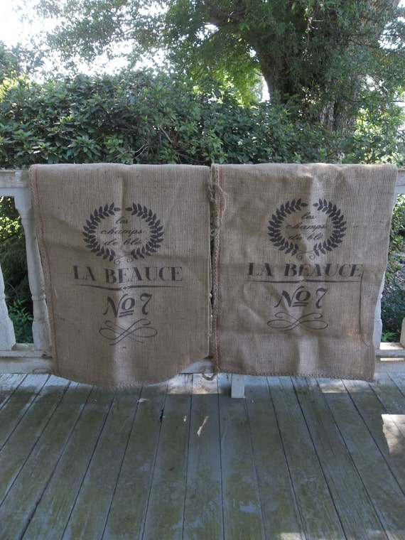 Set 2 French Grain Sacks Burlap Bag Reproduction French Bag Coffee Shop Decor Prairie Cottage Chic Sewing Supplies Wedding Decor Coffee Bag