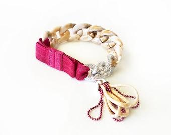 Funky Chunky Chain Bracelet - acrylic chain, aluminum chain, elastic ribbon bow, tiny handmade tassel - taupe and wine