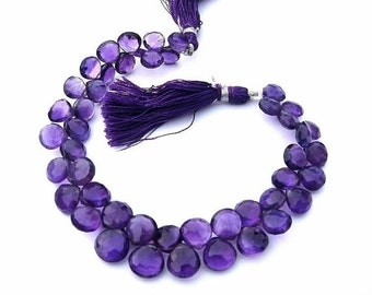 55% OFF SALE Full 8 Inches - African Amethyst Faceted Heart briolettes Size 8 - 9mm approx natural stone, wholesale price