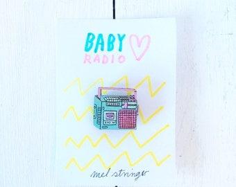 Baby Radio - handpainted cherry wood pin - 2cm