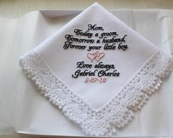 Personalized Groom to Mother Wedding Handkerchief, Mother of the Groom from the Groom, wedding hankie, wedding hanky