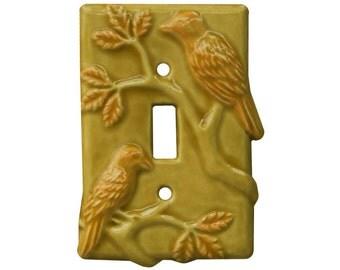 Birds Single Toggle Ceramic Light Switch Cover in Apricot Gold Glaze
