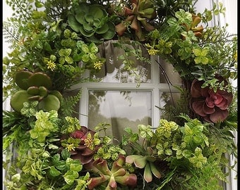 Succulent Wreath, Boxwood Wreath, Wreath for Door, Front Door Wreath, Faux Succulent Wreath, Artificial Boxwood Wreath