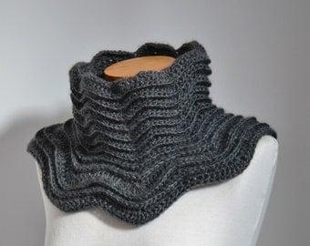 Grey crochet cowl,  P502