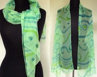 "Hand Painted Silk Chiffon Scarf 22x72"", Seafoam with Lime and Teal Ocean Waves Pattern"