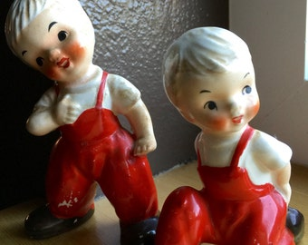 2 Adorable Hand-Painted Vintage Figurines: Little boys in Red Overalls