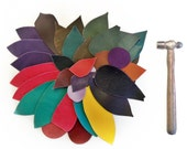 1 Lb bag of quality heavy, supple leather shapes, mixed colours, colourful scraps, belt, jewelry making