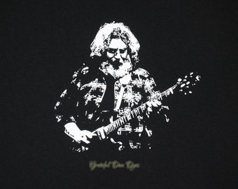 Jerry Garcia white on black Gildan Ultra Cotton Tee, Hand screen printed by GratefulDan, you pick size 2XL and 3XL, Grateful Dead shirt