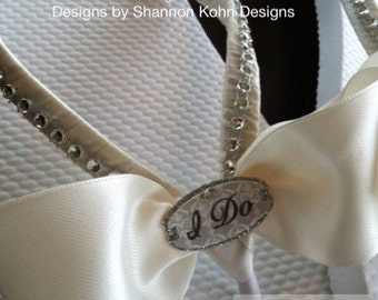 So Sweet Bride I DO Ivory Bridal Wedding Flip Flops