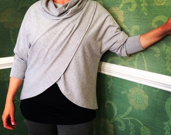 shortees for women - wrap lounge top - with cowlneck & 3/4 dolman sleeves in cotton french terry - heather gray