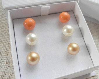 Oversized Pearl Posts - set of three - 10mm Pearl Stud Earrings on Stainless Steel posts