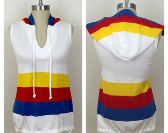 70s Variations White Red Blue Yellow Striped Hooded Drawstring Tunic, Size XS to Small