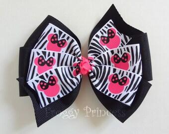 Pink Minnie Zebra Stripes Hair Bow - Double Pinwheel - No Slip Velvet Grip Hair Clip