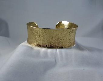 Gold Brass Hammered Cuff Bracelet (CCB245)