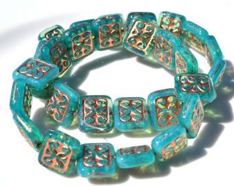 Beautiful Czech Glass Ornamental Rectangle Beads  6 Your choice of color
