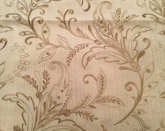 Tan Embroidered fabric  with paisley design- 1 1/2 yards