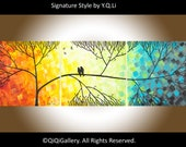 """Sale - Hand Paint lovebirds acrylic painting Wall decor Wall hanging decorative canvas art """"Love & Romance"""" by QiQigallery"""