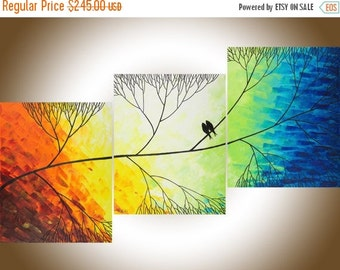 """Colorful love birds art Rainbow color art Acrylic landscape painting large wall art Wall decor canvas art """"Beautiful Day"""" by QIQIGALLERY"""