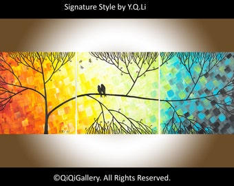 """Hand Paint lovebirds acrylic painting Wall decor Wall art wall hangings decorative canvas art """"Love & Romance"""" by QiQigallery"""
